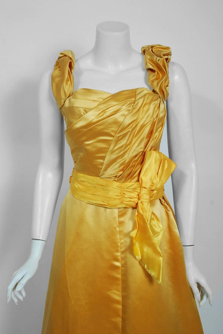 Antique 1895 French Couture Victorian Floral Embroidered Yellow Satin Gown In Good Condition For Sale In Beverly Hills, CA