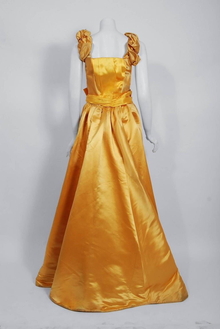 Antique 1895 French Couture Victorian Floral Embroidered Yellow Satin Gown For Sale 3