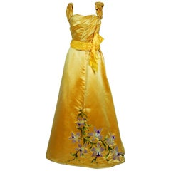 1895 Mme Arnaud French Couture Victorian Floral Embroidered Yellow Satin Gown