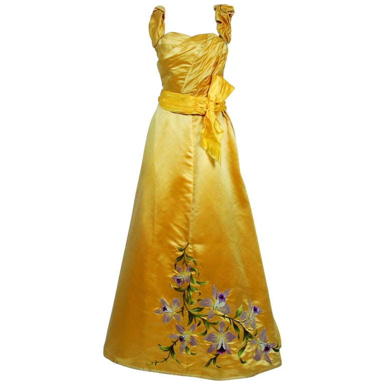 1895 Mme Arnaud French Couture Victorian Floral Embroidered Yellow Satin Gown For Sale
