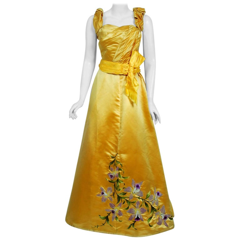 Antique 1895 French Couture Victorian Floral Embroidered Yellow Satin Gown For Sale