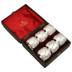 1896 Antique Victorian Sterling Silver Napkin Rings Set of Six