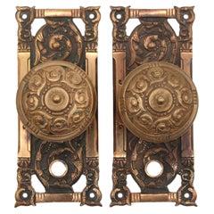 1897 Columbian Entry Bronze Door Knob Set by Reading Hardware Co.