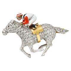 1897 E. Wolfe Co. Enamel Pave Diamond 18 Karat White Gold Horse & Jockey Brooch