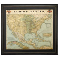 1897 Poole Brothers Antique Railroad Map of the Illinois Central Railroad
