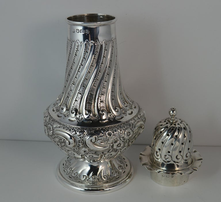 1897 Victorian Heavy Well Made Silver Sugar Castor Caster For Sale 3