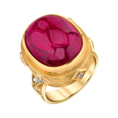 18.98 Ct. Rubellite Tourmaline Cabochon, Diamond, Gold Bezel Cocktail Ring