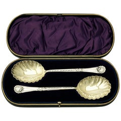 1898 Victorian English Sterling Silver Fruit Spoons