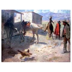 1898 Western Scene Oil on Canvas Orpheus