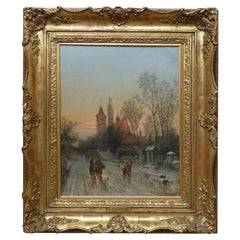 Karl Kaufmann 1899 Oil Painting of a European Village Landscape