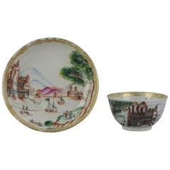 18C Antique Rare Cup Saucer Chine de commande, Western Subjects Meissen Style