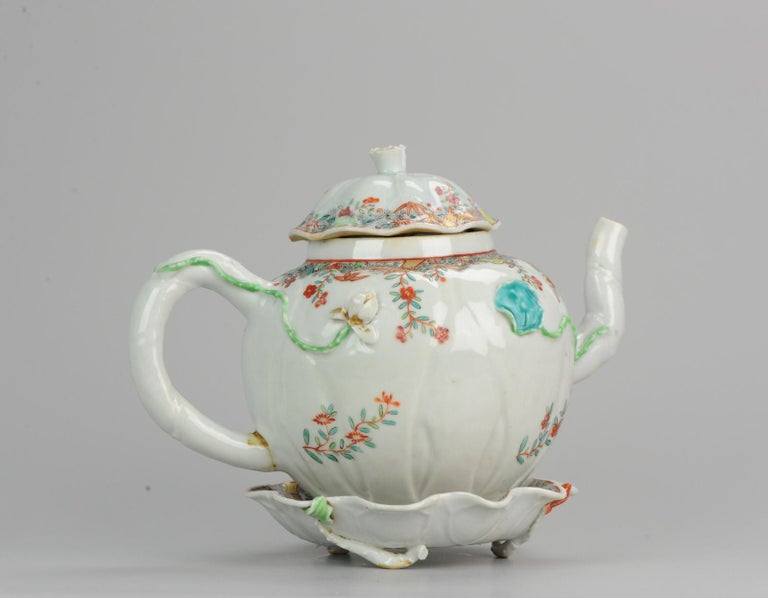 Hand-Painted 18th Century Chinese Porcelain Qianlong/Yongzheng Famille Rose Pattipan Antique For Sale