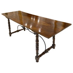18c Spanish Baroque Walnut and Wrought Iron Table