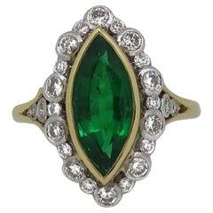 18Carat Gold Marquise Navvette Cut Emerald & Diamond Art Deco Style Cluster Ring