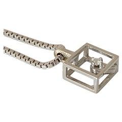 18ct 750 White Gold 0.10 Carat Diamond 1970s Necklace