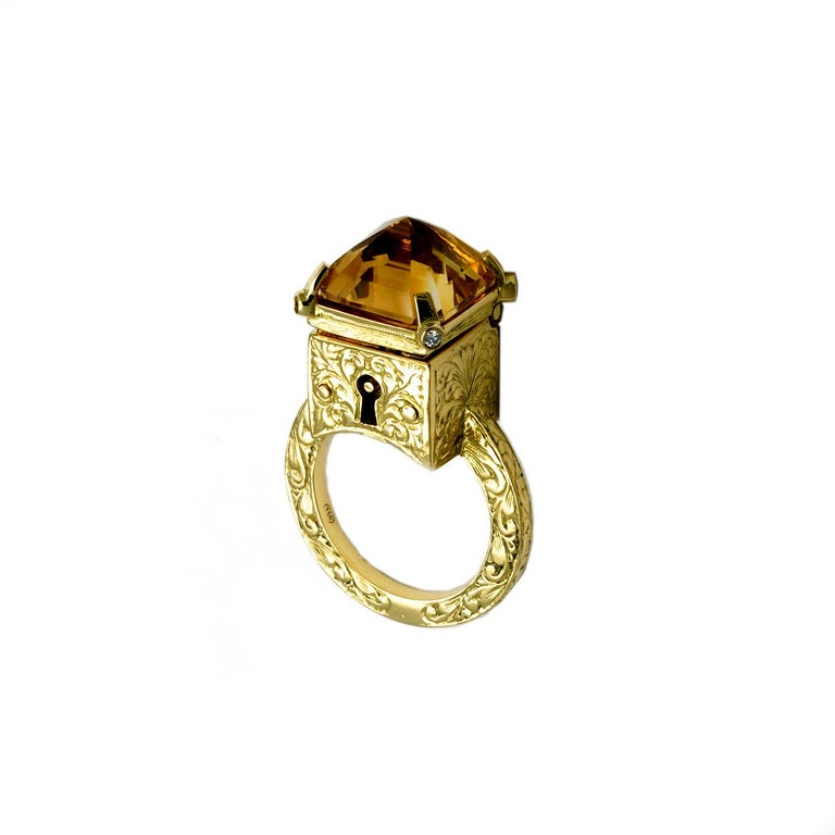 Princess Cut Citrine and Diamond Mystic Chamber Ring For Sale