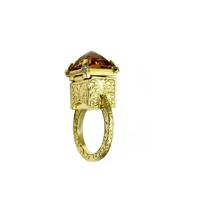 Women's or Men's Citrine and Diamond Mystic Chamber Ring For Sale