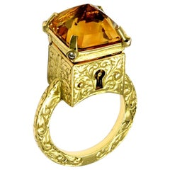 William Llewellyn Griffiths Citrine and Diamond Mystic Chamber Ring