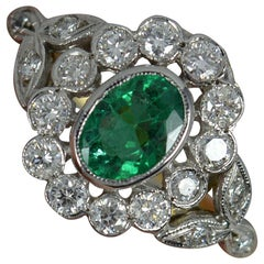 18 Carat Gold Emerald and Vs Diamond Cluster Engagement Ring