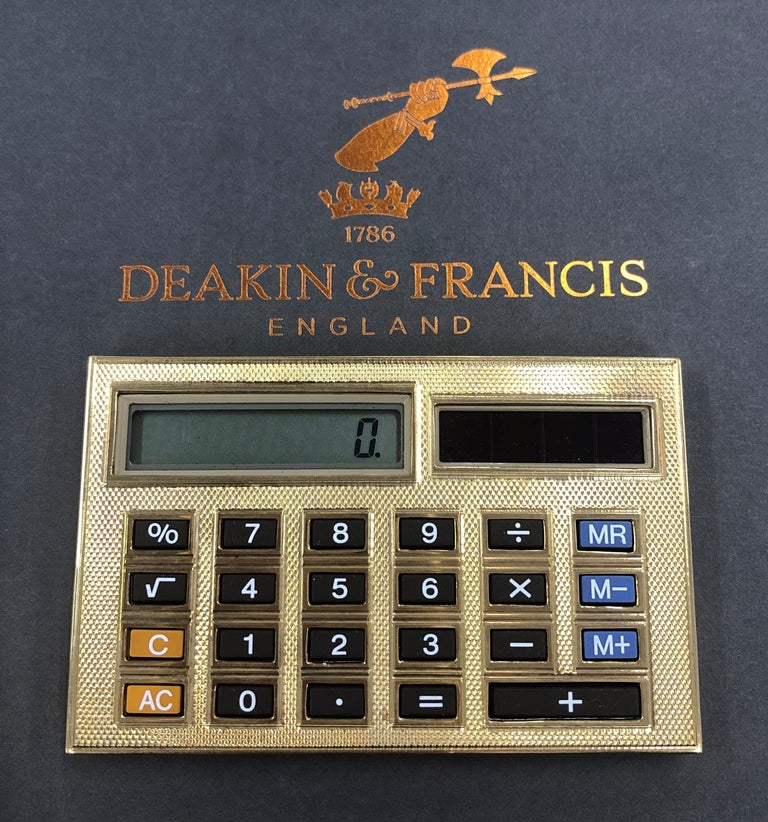 Deakin & Francis 18 Karat Gold Limited Edition Luxury Calculator In New Condition For Sale In Birmingham, West Midlands