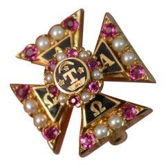 18 Carat Gold Maltese Cross Masonic Enamel Ruby Pearl Brooch