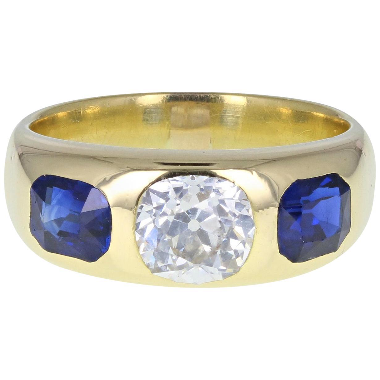 18 Carat Gold Old Cut Diamond Blue Sapphire Three-Stone Heavy Band Ring