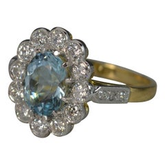 18 Carat Gold and Platinum Aquamarine Diamond Cluster Ring