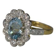 18 Carat Gold and Platinum Aquamarine Diamond Cluster Ring