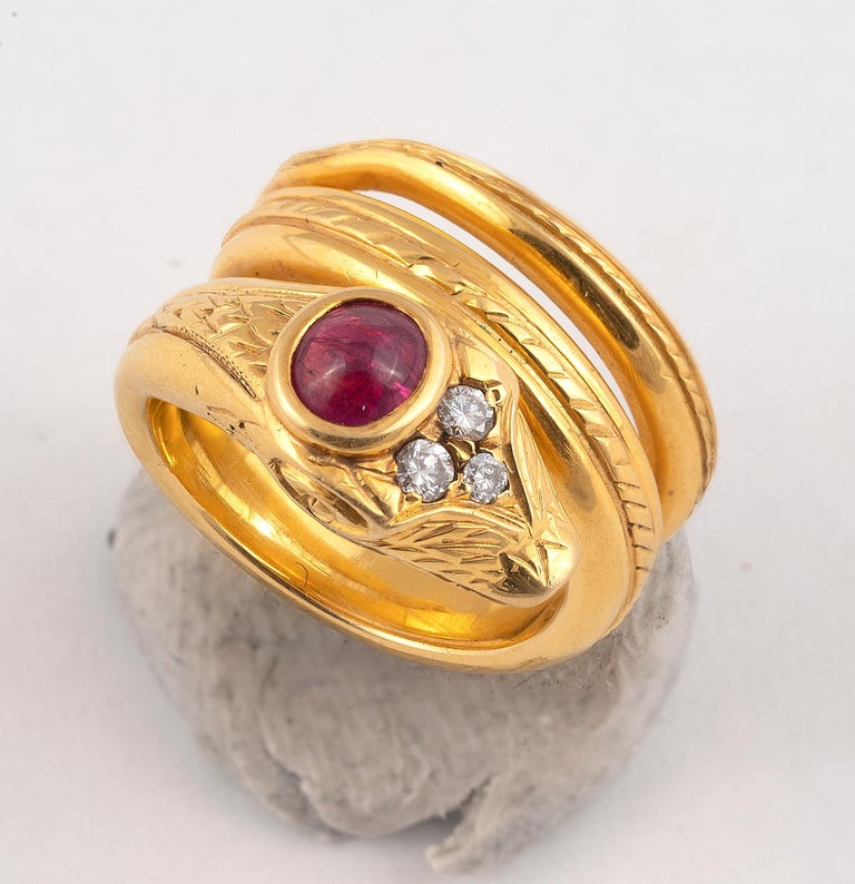 Art Nouveau 18 Carat Gold Ruby and Diamond Snake Ring For Sale