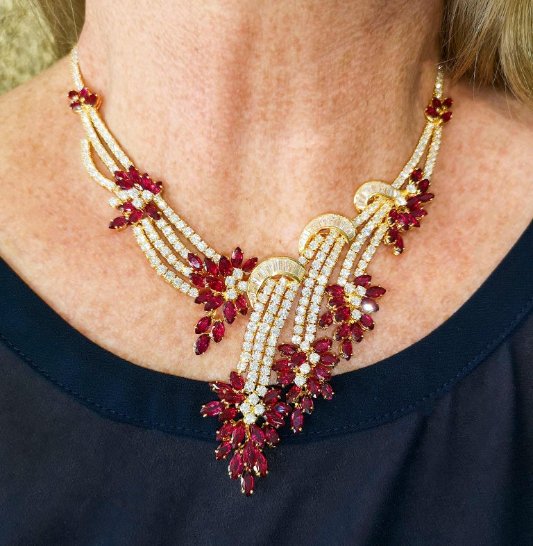 Modern 18 Carat Gold Ruby Diamond Necklace Suite For Sale