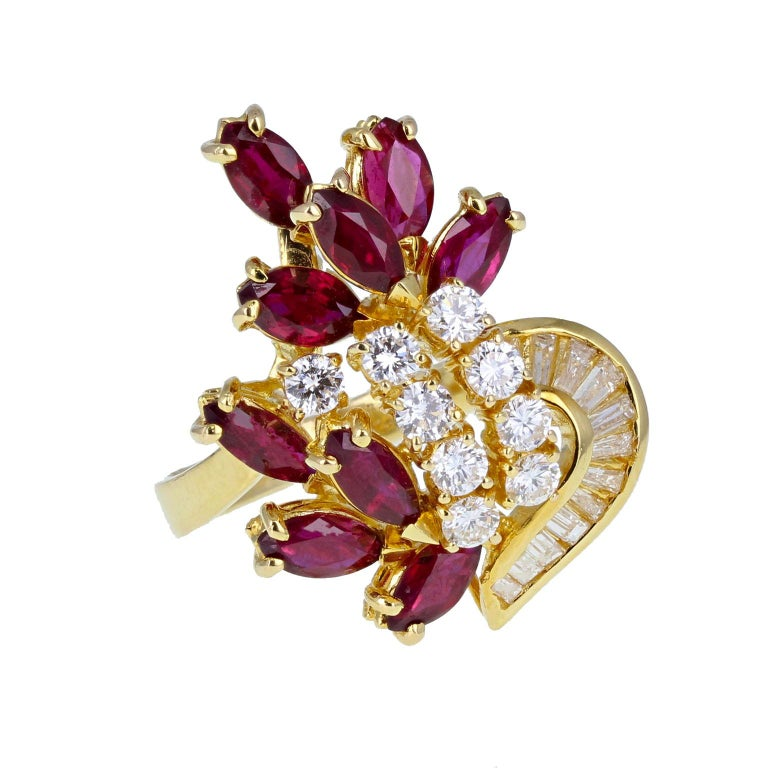 Women's 18 Carat Gold Ruby Diamond Necklace Suite For Sale