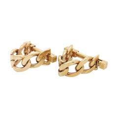 18ct Gold Stirrup Curb Chain Cufflinks, Circa 1990
