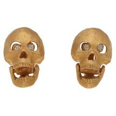 18 Carat Rose Gold Skull Stud Earrings with Diamond Set Eyes