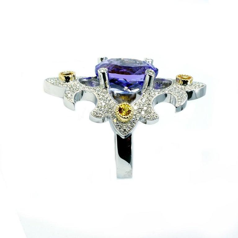 Mawenzi Princess Ring - 18kt White Gold, Tanzanite, Yellow Sapphires, & Diamonds For Sale 6