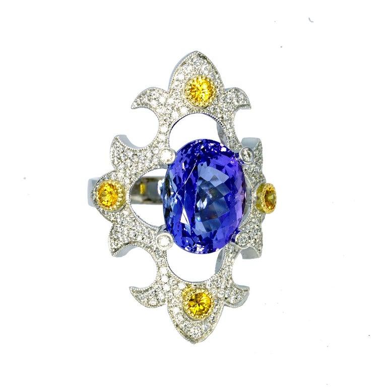 Mawenzi Princess Ring - 18kt White Gold, Tanzanite, Yellow Sapphires, & Diamonds For Sale 7