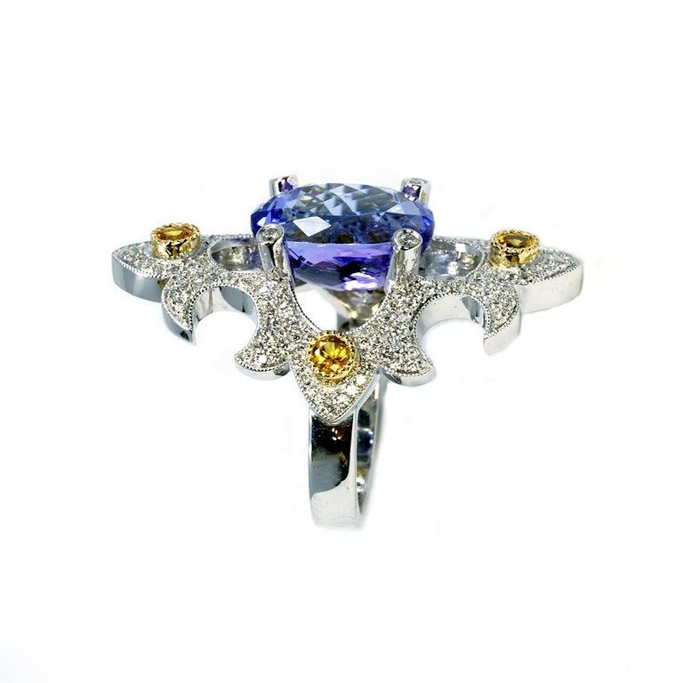 Medieval Mawenzi Princess Ring - 18kt White Gold, Tanzanite, Yellow Sapphires, & Diamonds For Sale