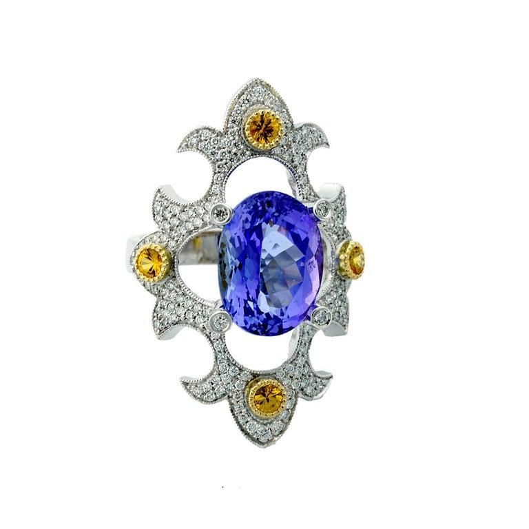 Women's or Men's Mawenzi Princess Ring - 18kt White Gold, Tanzanite, Yellow Sapphires, & Diamonds For Sale