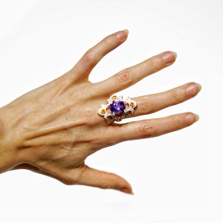 Mawenzi Princess Ring - 18kt White Gold, Tanzanite, Yellow Sapphires, & Diamonds For Sale 5