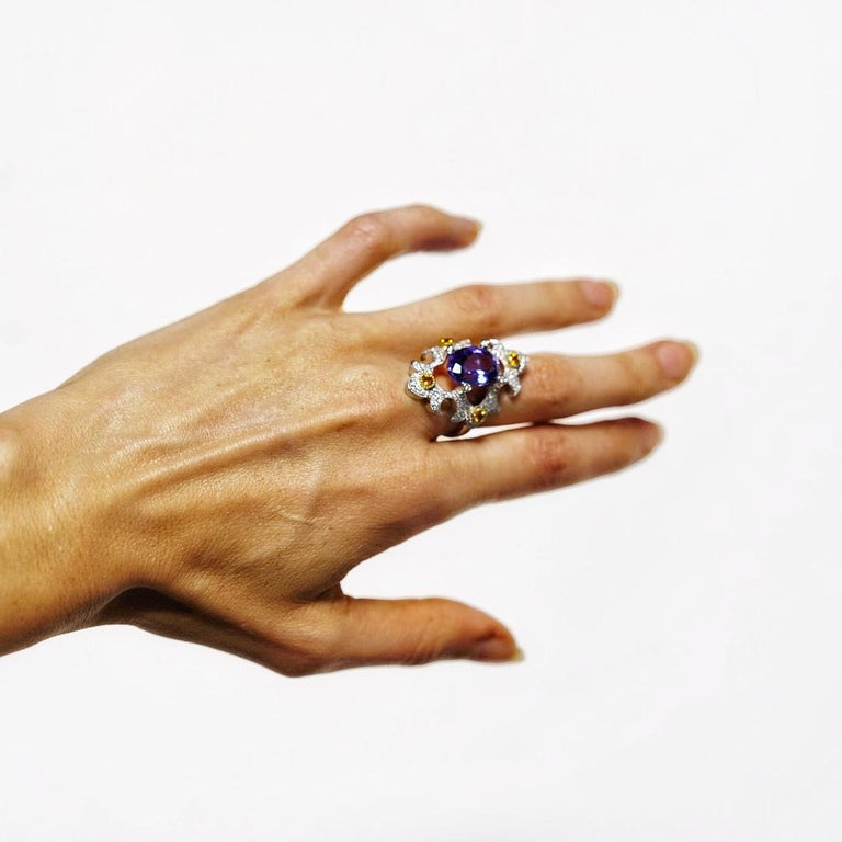 Mawenzi Princess Ring - 18kt White Gold, Tanzanite, Yellow Sapphires, & Diamonds For Sale 8