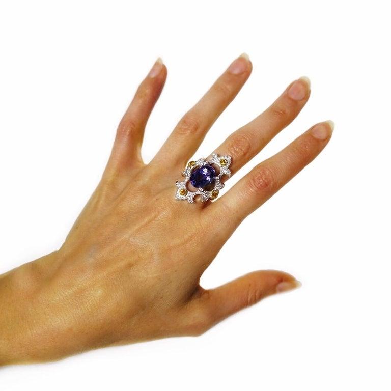 Mawenzi Princess Ring - 18kt White Gold, Tanzanite, Yellow Sapphires, & Diamonds For Sale 4