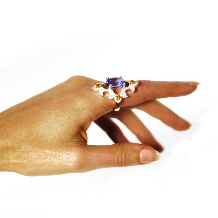 Mawenzi Princess Ring - 18kt White Gold, Tanzanite, Yellow Sapphires, & Diamonds For Sale 9