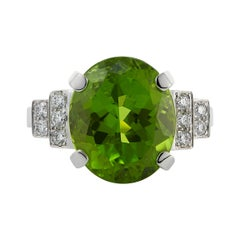 18ct White Gold 7.12 carats Peridot and Diamond Cocktail Ring
