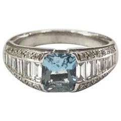 18 Carat White Gold Aquamarine and Baguette Diamond Ring