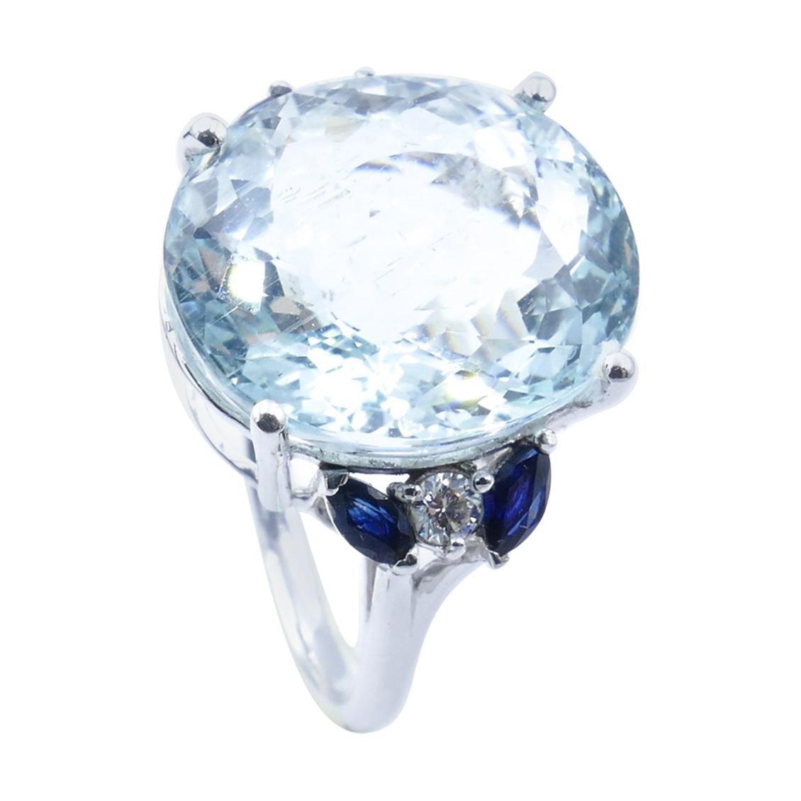 18ct White Gold, Aquamarine, Blue Sapphire & Diamond Cocktail Ring