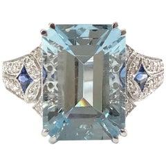 18 Carat White Gold Aquamarine, Sapphire and Diamond Ring