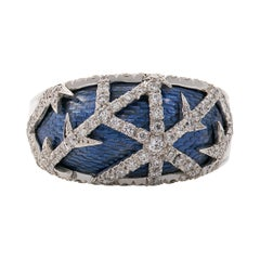 """18ct White Gold Blue Enamel and Diamond """"Frost"""" Ring"""