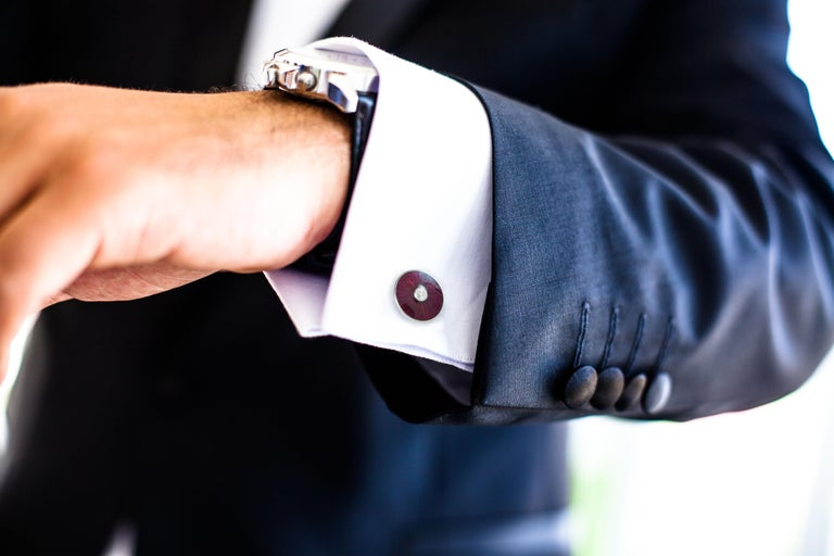 DEAKIN & FRANCIS, Piccadilly Arcade, London  A crisp white shirt will be truly complemented by these luxurious deep pink, hand enamelled cufflinks. The classic, round shape is timeless and these cufflinks have been made from the very finest 18ct