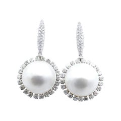 18CT White Gold Mabe Pearl & Diamond Short Drop Earrings