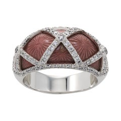 18ct White Gold Pink Enamel and Diamond Cocktail Ring