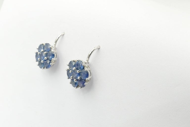 Modern 18 Carat White Gold Sapphire and Diamond Earrings For Sale